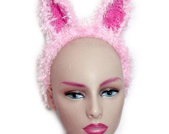 Bunny Ears Headband. Kawaii Rabbit Hair Band. Animal Ear Alice Band. Pink Fluffy Hen Night Accessory. White Fur Bachelorette Party Head Band