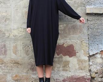 SALE ON 20 % OFF Black Maxi dress/ Midi dress/ Plus size dress/ Oversized dress/ Long sleeve dress/ Casual dress/ Day dress/ Plus size cloth