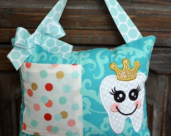 Tooth Fairy Pillow-Turquoise & Gold