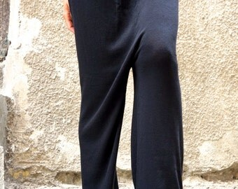NEW AW15 Loose Casual  Black Drop Crotch Fully Knit Harem Pants / Extravagant Black Pants /  Elastic Waist by AAKASHA A05321