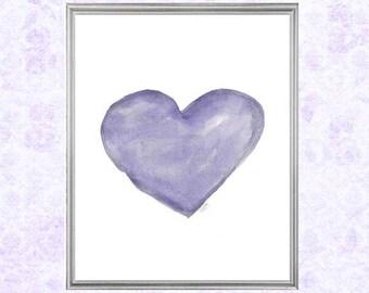 Purple Girls Room Decor, Kids Decor, Watercolor Heart Print 8x10, Lavender Nursery Art, Purple Playroom Decor, Purple Wall Art, Watercolor