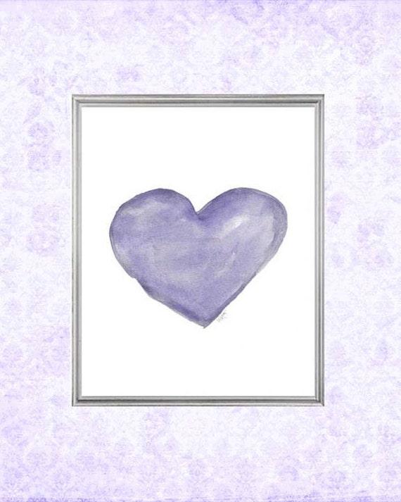 Happy Purple Heart Print for Girl , 8x10