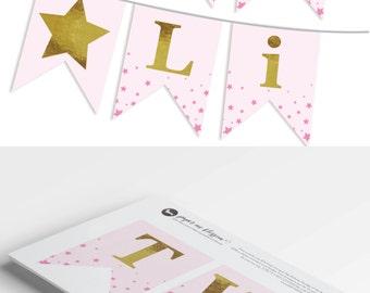 Twinkle Twinkle Little Star Banner -  DIY Printable Banner PDF  - Twinkle Twinkle Little Star Birthday Banner/Baby Shower -Instant Download