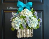 spring wreath front door wreaths floral arrangement blue hydrangeas decor floral container birch bark vases welcome rustic wedding wreaths