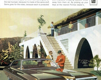 1969 Pontiac Bonneville Vintage Car Ad 1960s Auto Advertising Artwork Endura