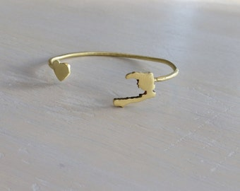 Love Haiti Recycled Brass CUSTOM State or Country Open Bangle Gold state bracelet