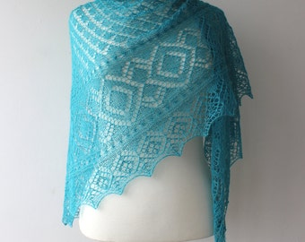 Turquoise lace shawl,  hand knitted alpaca / silk shawl, Estonian Lace