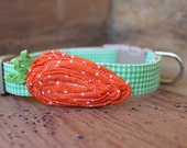 Easter Dog Collar - Orange Carrot on Tiny Green Gingham Collar with Green Rick-Rack Stem