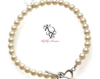 Heart Bracelet, Valentines Gift, Valentines Jewelry, Heart Jewelry, Wife Valentines Gift, Anniversary Gift, Pearl Bracelet, Bridal Jewelry