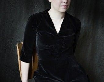 Velvet Dress 1940's Dress Black Dark Brown Retro Dress Vintage Dress