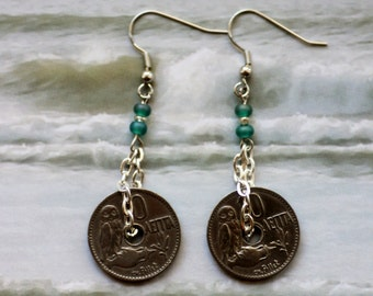 Vintage 1912 Greece, 10 Lepta, Owl Coins, Coin Earrings with OWLS