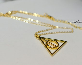 Harry Potter inspired Deathly Hollows - gold silver bronze necklace