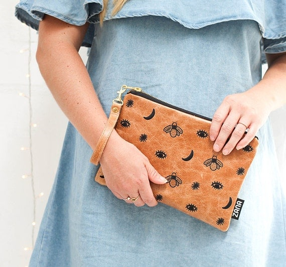 Genuine Leather Clutch with . Including Removable Wrist Strap