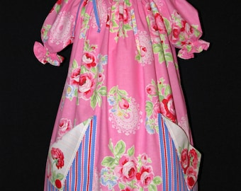 Girls peasant style dress with pockets size 5 ready to ship  MADE in the USA