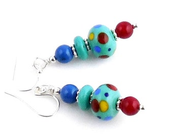 Multicolor Polka Dot Lampwork Beaded Earrings, Glass Bead Earrings, Fashion Jewelry, Lampwork Jewelry, Gifts, Valentine Day