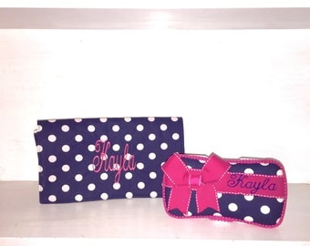 Personalized Wipe Case & Changing Pad Set.  Navy And White Polka Dot Print With Hot Pink Accents. Free Embroidery
