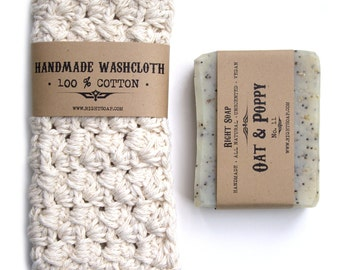 BATH SET - Soap and washcloth , natural soap, crochet washcloth, gifts for men , gifts for women,  gift idea under 20