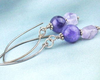 Amethyst Crystal, Dangle Earrings, Semi Precious Stones,  Antiqued Silver, Marquis Earwires, Lavender, Purple, Handmade, Victorian Style