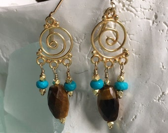 PRICED To SELL Gold Filled Spiral Hoop with Genuine Tigers Eye and Turquoise Drops - Etsy andersonhs