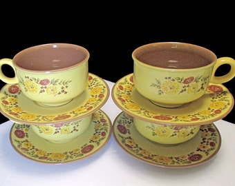 Taylor Smith Taylor Design 70 Shape - Indian Summer Pattern - Set of 4 Cups and 4 Saucers