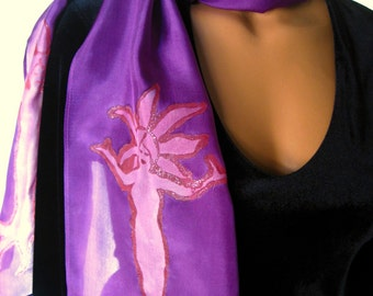 Hand Painted Purple and Pink Slim Scarf. 8x72 inch Long Silk Scarf. Bright Purple Scarf with Light Pink Tree Spirits, Dryads