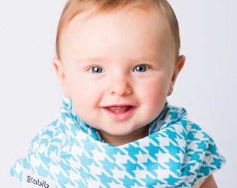 """Modern Bib (Water Houndstooth) All in One Scarf & Bib """"Scabib"""" TM for babies or toddlers"""