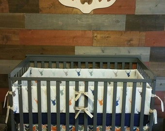 Deer Head and Arrow Crib bedding in Blue and Orange, boy crib set