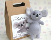 Needle Felting Kit Koala Make Your Own Felt Animal DIY Craft Kits with Mini Foam Mat and Armature