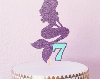 Glitter Mermaid Cake Topper - Under the Sea Cake Topper - Birthday Cake Topper - Mermaid Party Decoration // Mermaid Birthday Party Supplies