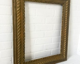 Vintage Gold Painted Wood Picture Frame 27x23