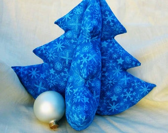 Fabric Holiday Tree - Christmas decor for New Apartment, Housewarming gift, Soft Bright Blue on Blue Snowflakes Extra Large Xmas Tree
