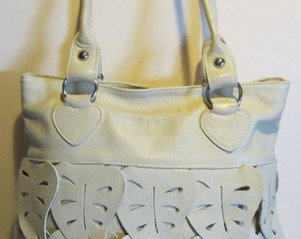 Gorgeous Italian vintage white leather bag, with leather decoration of leaves all around, Italy