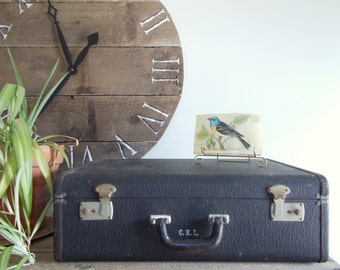 Black Suitcase with Emerald Green Lining