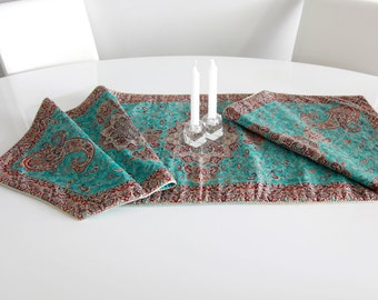 Turquoise blue table runner- hand woven Persian Termeh- silk woven traditional turquoise runner for table