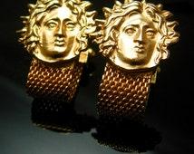 Rare MEDUSA Cufflinks Vintage Snake Goddess Large Mythology Designer GOld mesh wrap Swank Cuff link Accessory