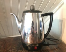 1950s Vintage 1960s MidCentury Universal Coffeematic Model C4488 Compact Size Chrome Retro Electric Percolator Coffee Pot