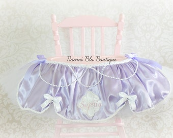 Inspired by Disney's Sofia the First High Chair Tutu. Birthday Party Decoration, Tulle Table Skirt. Cake Smash First 1st Princess Sophia
