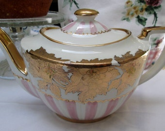 Sudlow Teapot, Pink, Gold and White