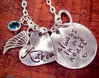 Memory Jewelry, always in my heart, Hand Stamped, Personalized Jewelry, Birthstone, Angel Wing, Baby Loss Jewelry, Remembrance, Keepsake