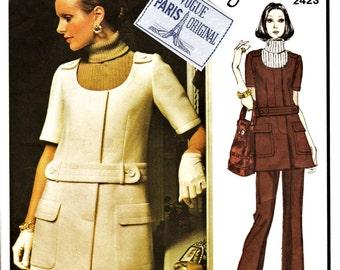 70's Vogue Paris Original Pattern 2423 Lavin w LABEL Mini Dress Sz 16 Uncut FF Vintage Haute Couture MOD Jumper Sewing Pattern Sewing Supply