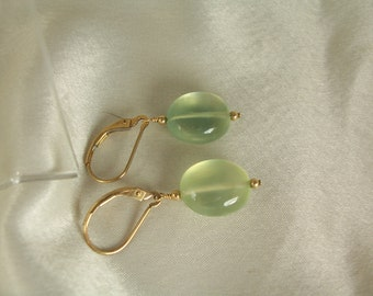 Green Prehnite  smooth oval interchangeable leverback gold filled earrings gemstone handmade item 879B
