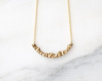 Mountain Necklace Nature Necklace Gold Pendant Necklace Mountain Jewelry Inspirational Necklace