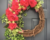 Fuchsia, Pink Wreaths, Pink Florals, Spring Floral Wreaths, Pink and Green, Spring Decor, Spring Door Wreaths, Large Pink Flowers