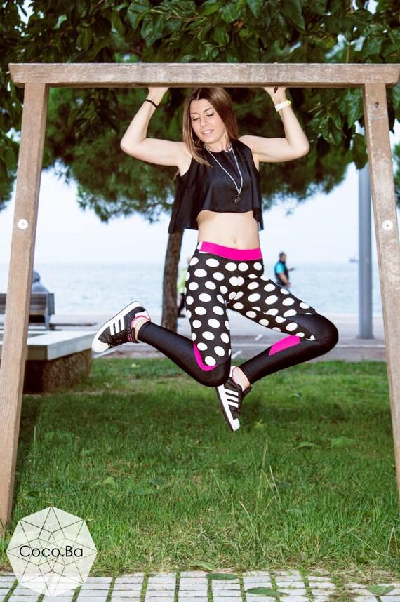 Woman Outfit, Polka Dot Leggings, Black Crop Top, Black White Fuchsia Leggings, Workout Leggings, Gym Clothing, Yoga Leggings, Woman Top