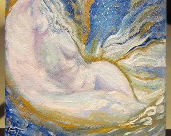 Moon Lovers Fantasy Original Art 3x3 Miniature Acrylic Painting on Canvas Board