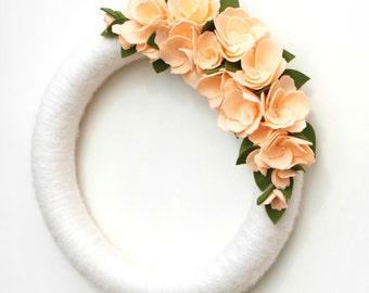 Sale!  Spring Wreath - Peach and Ivory Yarn and Felt Flower Wreath - Ready to Ship