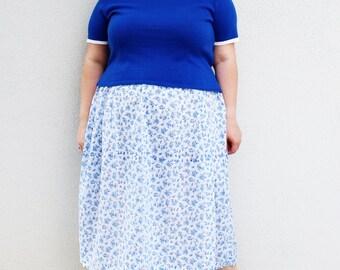 Plus Size - Vintage Blue Pullover Sweater (Size XL 16/18)