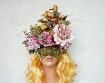 SALE Couture masquerade mask, Mardi gras Mask, New Orleans ball, Flower mask, Woodland mask, Pink gold flower headpiece, OOAK, Venetian mask