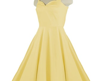 CALLISTA YELLOW Rockabilly Swing Rock 'n Roll Dress//Full Circle Yellow Dress//Retro 50s Style Dress//Bridesmaid, Party Dress XXS-3X