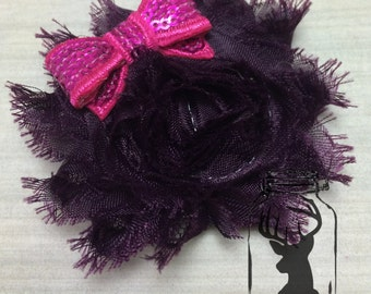 Dark Purple Shabby Flower Hair Clip with Sequin Hot Pink Bow